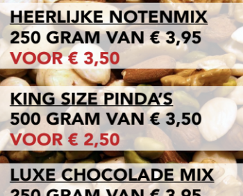 Notenmix, kingsize pinda's en luxe chocolade mix